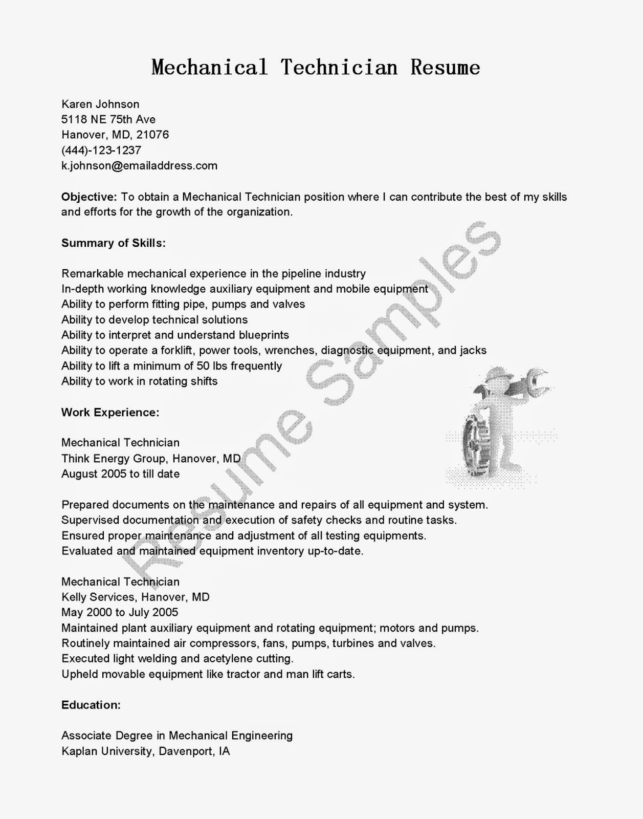 Mechanical Engineering Technologist Resume Sample Resume Samples Mechanical Technician Resume Sample