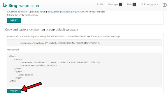 Klik Verify Untuk Verifikasi Web