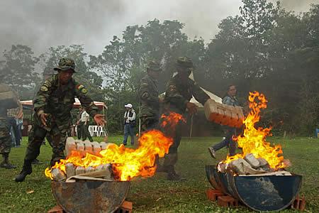 UNODC verificó quema de clorhidrato de cocaína y marihuana en un total de 18.660 kg de sustancias controladas