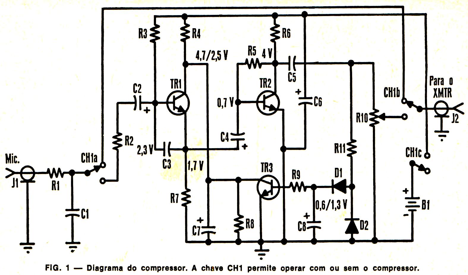 esquemas projetos eletr u00f4nicos   compressor e pr u00e9 de