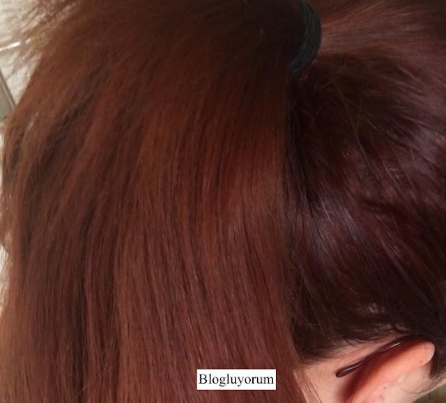 garnier 6.46 yoğun bakır kahve saç boyası ile saç boyama sonrası swatch
