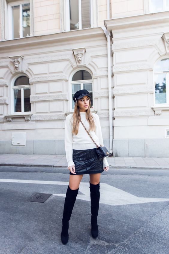 Kenza - Chanel Boy Bag + Black Over the Knee Boots
