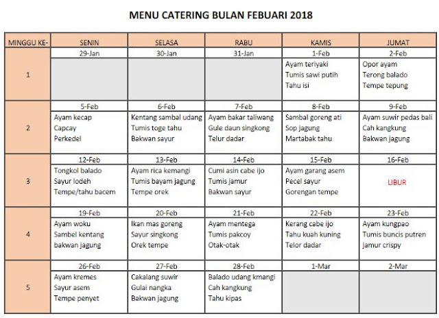 Menu Catering Rumahan Bulan Februari 2018