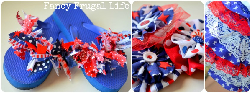 b0c7c3061761a Fourth of July Fabric Scrap Flip Flops   Rosette Flowers