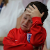 Sad faces of Wayne Rooney's son Kai after England lose to Iceland