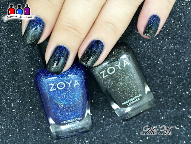 Collection, Zoya Winter 2012 Ornate Collection, Ombré Nails, Blue, Black, scattered holo effect, Dream, Storm, Alê M., Zoya