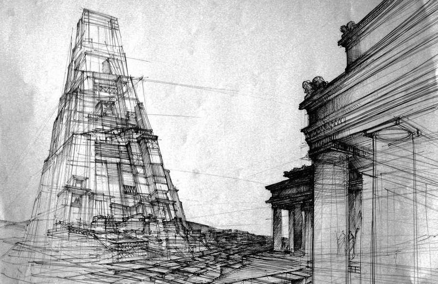 05-The-Tower-of-Babel-Monika-Domaszewska-Ghosted-Architectural-Drawings-www-designstack-co