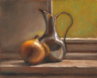 Still life oil painting of an onion beside a reflective pewter jug.