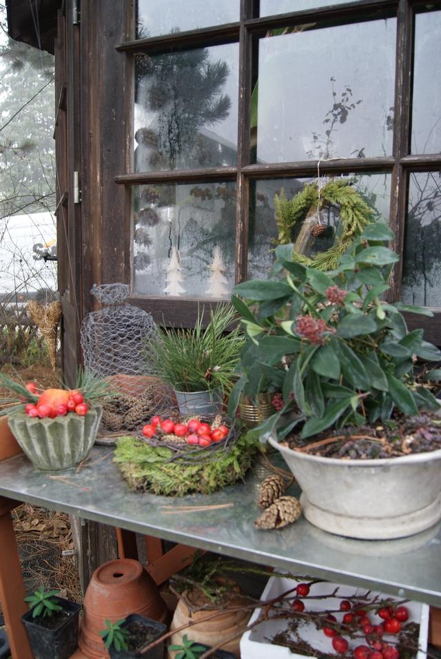 Gartenhaus mit Pflanztisch und Gartendeko