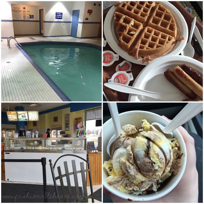 travel, comfort suites, canada, ontario, peterborough, review, jacuzzi, fireplace, pool, breakfast, kawartha dairy, ice cream, anniversary trip, noise, lifestyle blogger