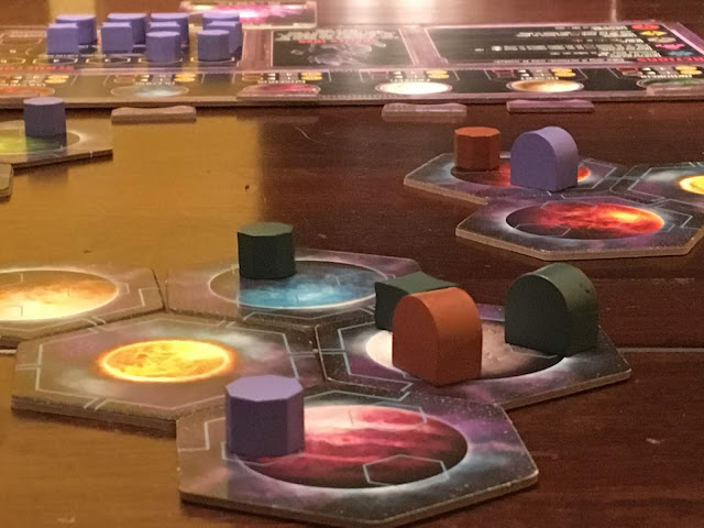 Horizons Board Game from Daily Magic Games, planets and buildings; photo by Benjamin Kocher