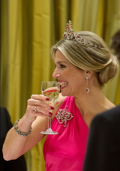 King Willem-Alexander and Queen Maxima of The Netherlands attend an state banquet offered by governor general Johnston at Rideau Hall in Ottawa