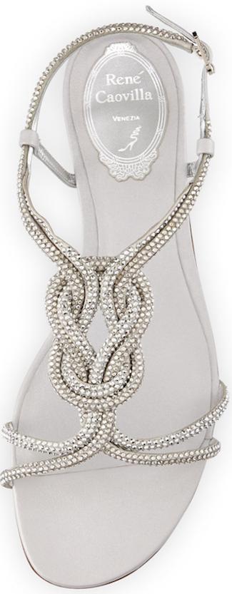 Rene Caovilla Braided Crystal T-Strap Sandal, Silver