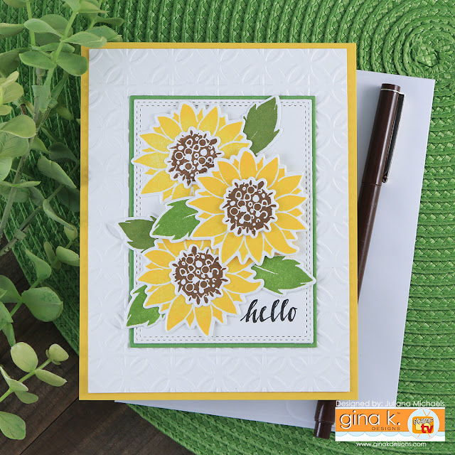 Hello Sunflower Card by Juliana Michaels featuring Pressed Flowers 2 by Gina K Designs