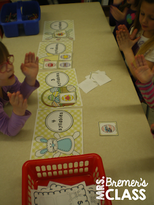 Easter themed syllable sorting literacy center activity to promote phonemic awareness and syllable segmentation. Fun and hands on learning for Kindergarten and First Grade. #1stgrade #kindergarten #syllables #sorting #phonemicawareness