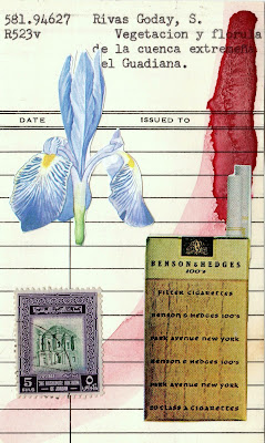 mail art library card Dada Fluxus vintage cigarette ad Iris postage stamp collage