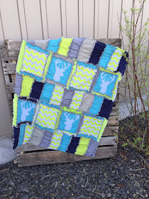 Lime Green, Navy Blue, Aqua, and Gray Woodland Baby Quilt and Nursery Crib Bedding