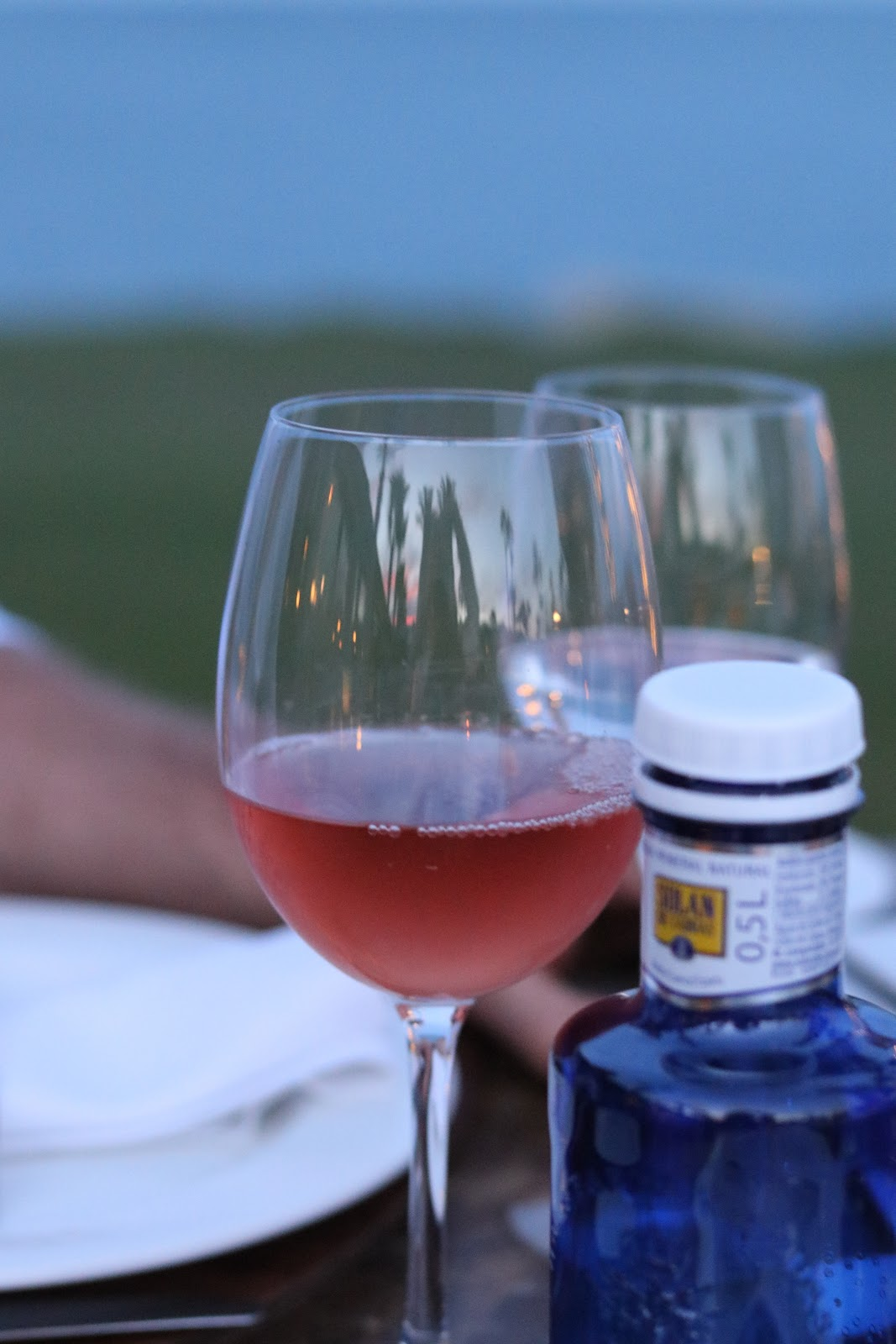 Glass of cold Rose Wine at Trocadero in Sotogrande, Spain