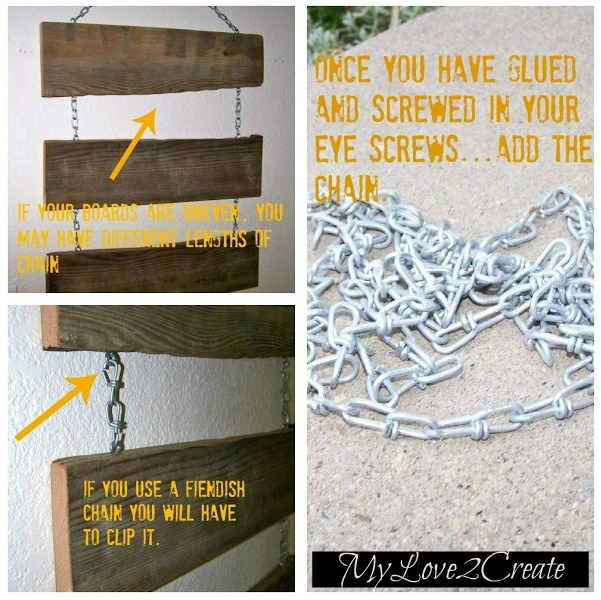 MyLove2Create, Spooky Halloween Sign, adding chains to wood