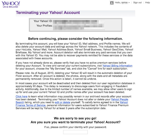 Terminating your Yahoo! account