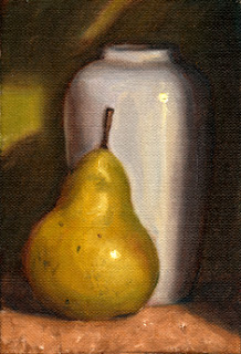 Oil painting of a green pear beside a white porcelain vase.