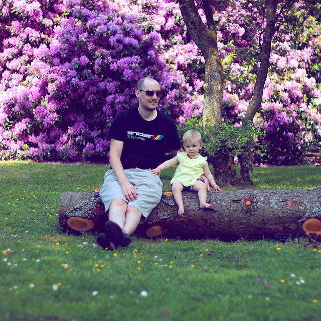 daddy and daughter photo sat on felled tree with pink Rhododendron backdrop