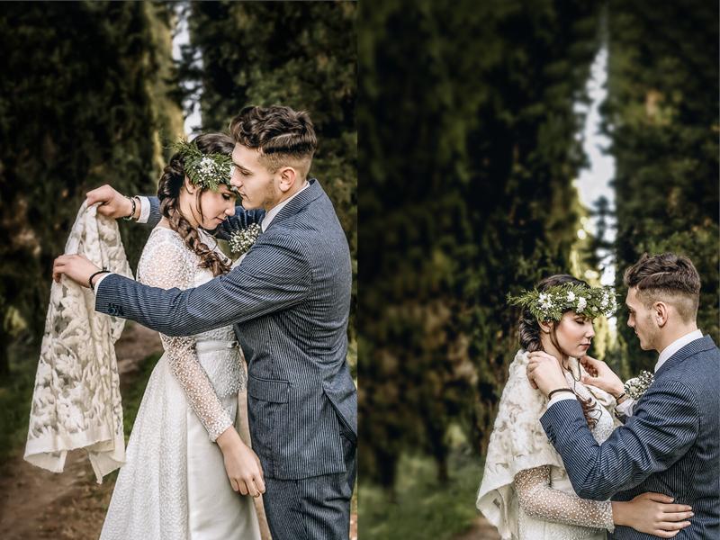 Winter elopement a Chieri,in italia,in un bosco di cipressi, sposo che aiuta la sposa ad indossare la stola