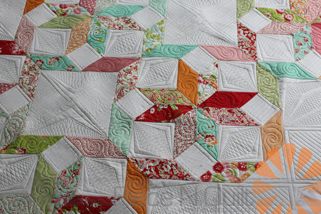 Piece n quilt star quilt custom machine quilting by natalia bonner to help tie the whole quilt together i chose to quilt half of the large white squares with a similar point to point design and figure 8s and the other half ccuart Image collections