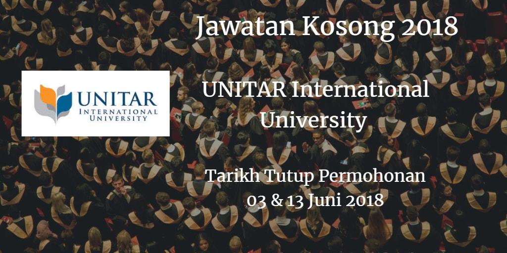 Jawatan Kosong UNITAR International University  03 & 13 Jun 2018