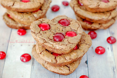Cherry Cordial Brownie Cookie @www.thesweetchick.com