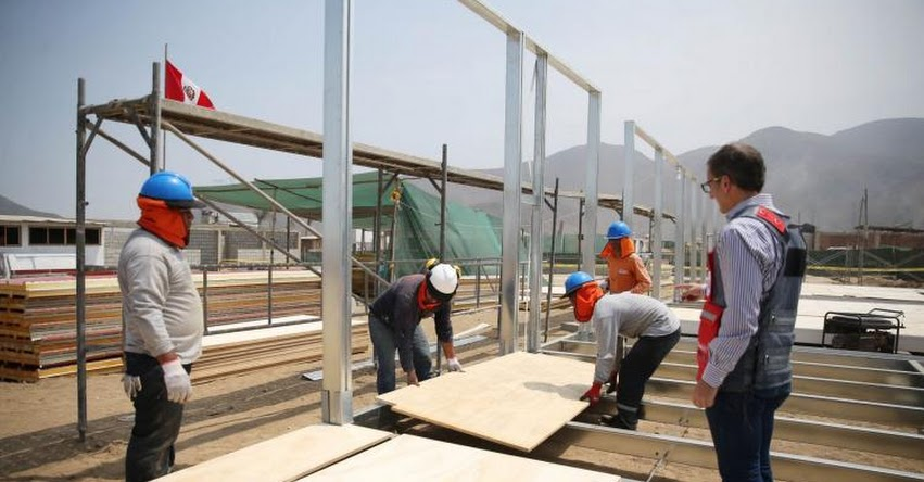 MINEDU instala 9 aulas prefabricadas para 200 alumnos en Pampa Pacta - www.minedu.gob.pe