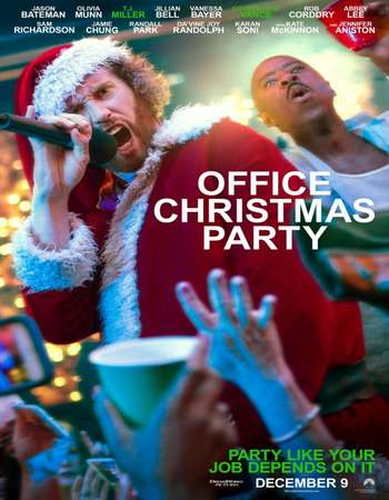 Poster Of English Movie Office Christmas Party 2016 Full HDCam Movie Free Download Watch Online