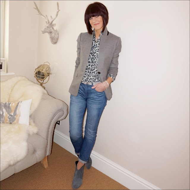 My Midlife Fashion, J Crew regent blazer, j crew boyfriend jeans, hush thornton ankle boots, leopard print blouse by somerset alice temperley