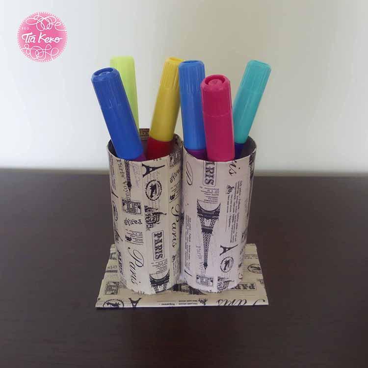 Portalapices con rollos de carton - Como decorar un rollo de papel higienico ...