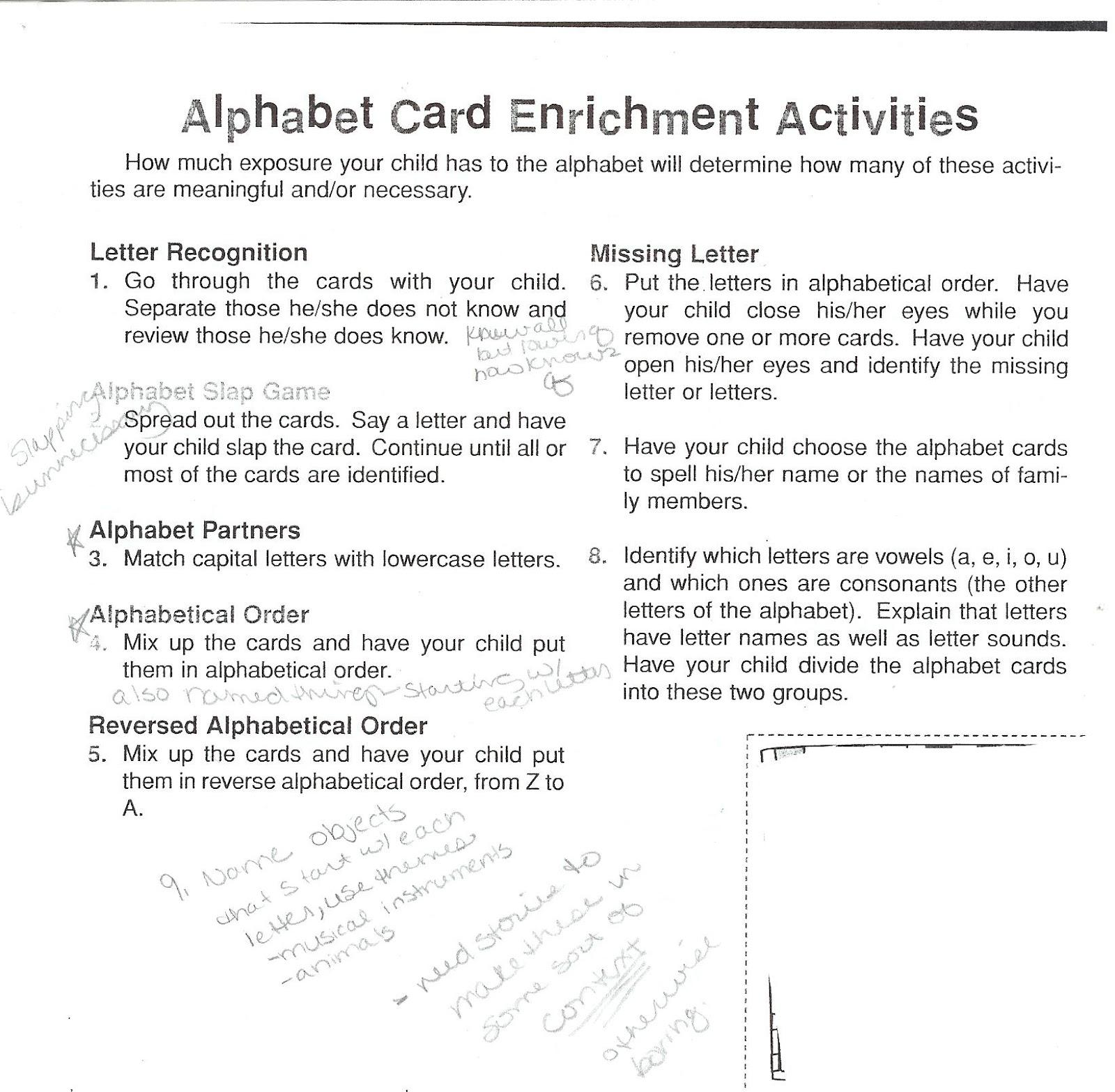 Alphabet Homework Kindergarten