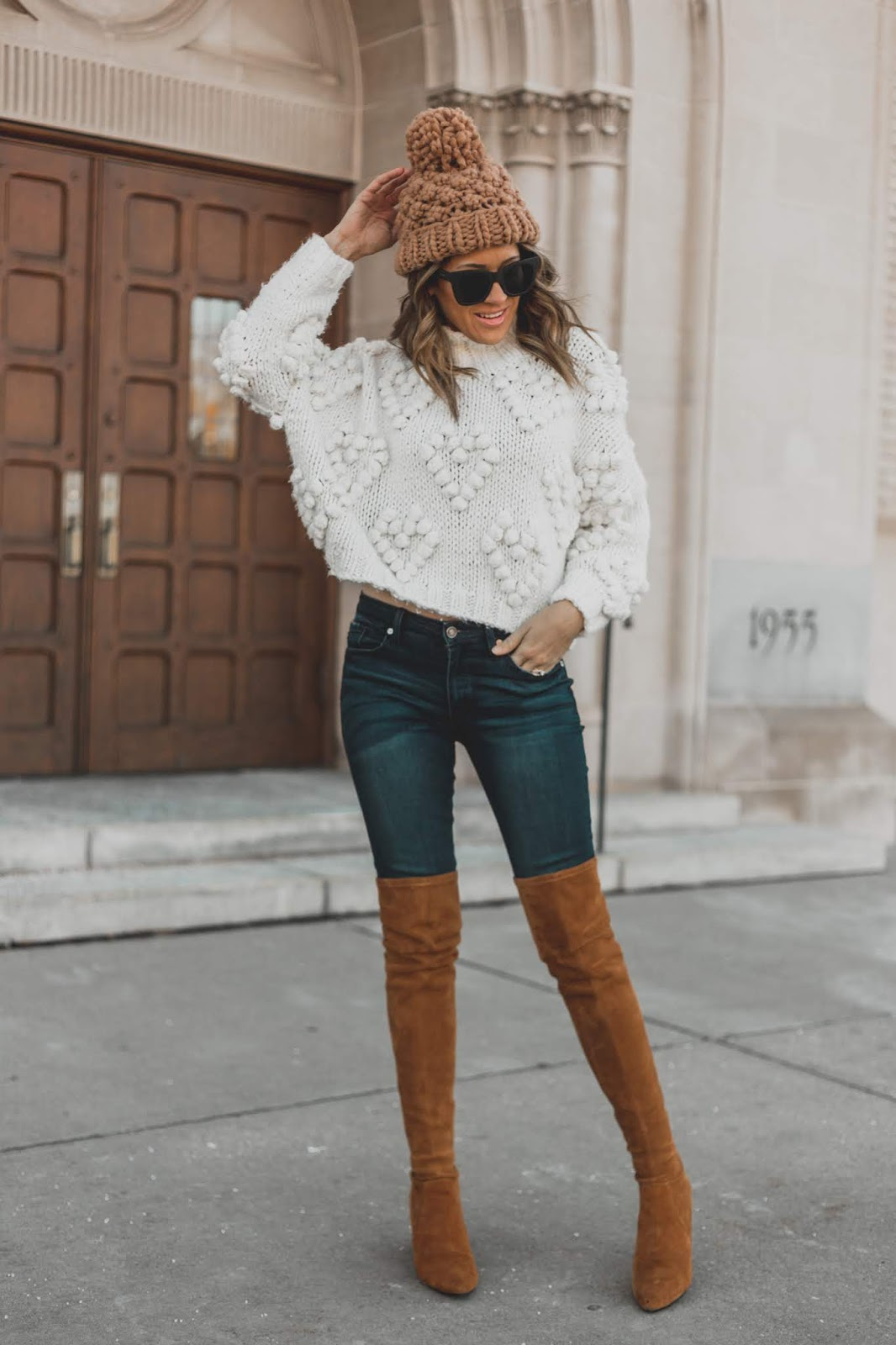 Knit Beanie With Sweater and OTK Boots