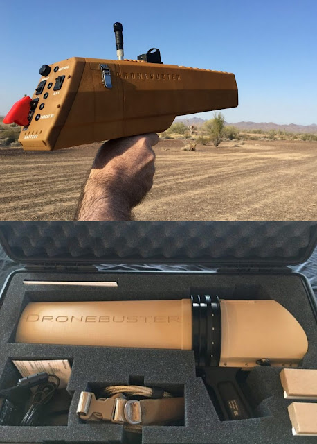 Image Attribute: Block 3 Dronebusters: This is a hand-held drone detection and jamming systems for use in the battle against ISIL. It was certified by the Army's Counter Rocket Artillery and Mortar (C-RAM) product directorate in January of 2017 at Yuma Proving Ground and chosen for use by U.S. forces overseas working in Operation Inherent Resolve. The Dronebuster is a 5 lb. 21-inch long drone jammer.