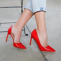Pantofi dama cu toc decupati piele lacuita