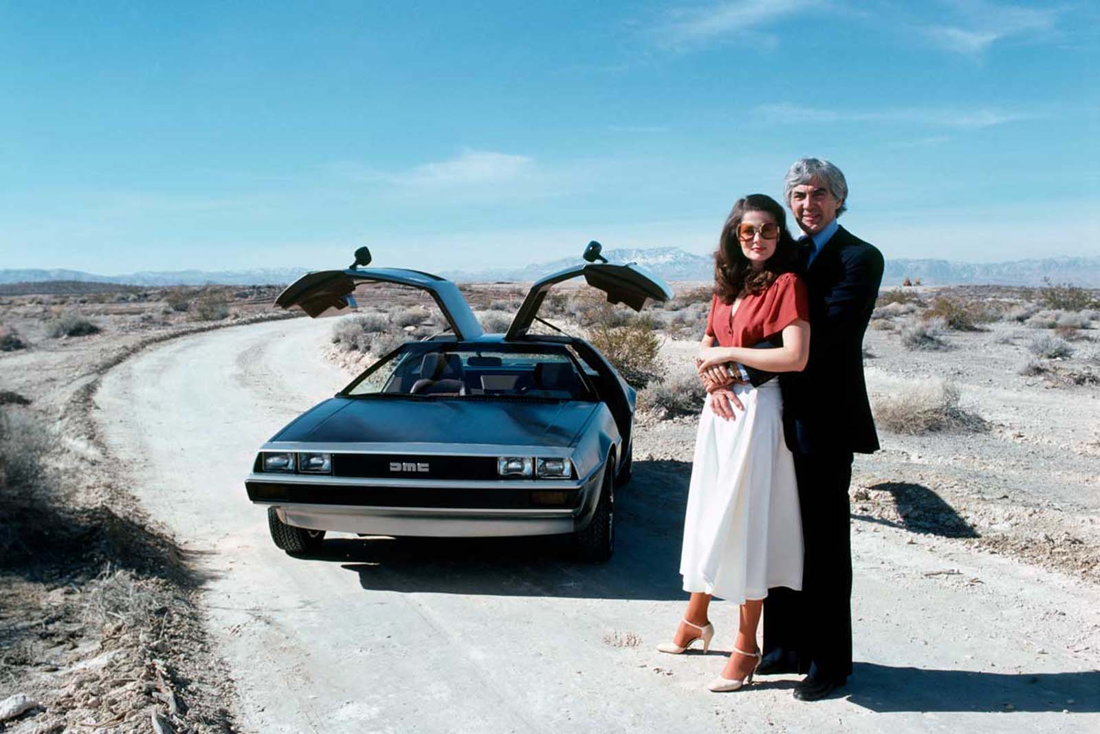 DeLorean and his wife in the desert. 1980.