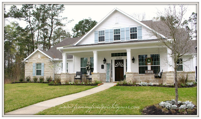 Farmhouse Front Porch-Southern Front Porch With Rocking Chairs-Board And Batten Shutters-From My Front Porch To Yours