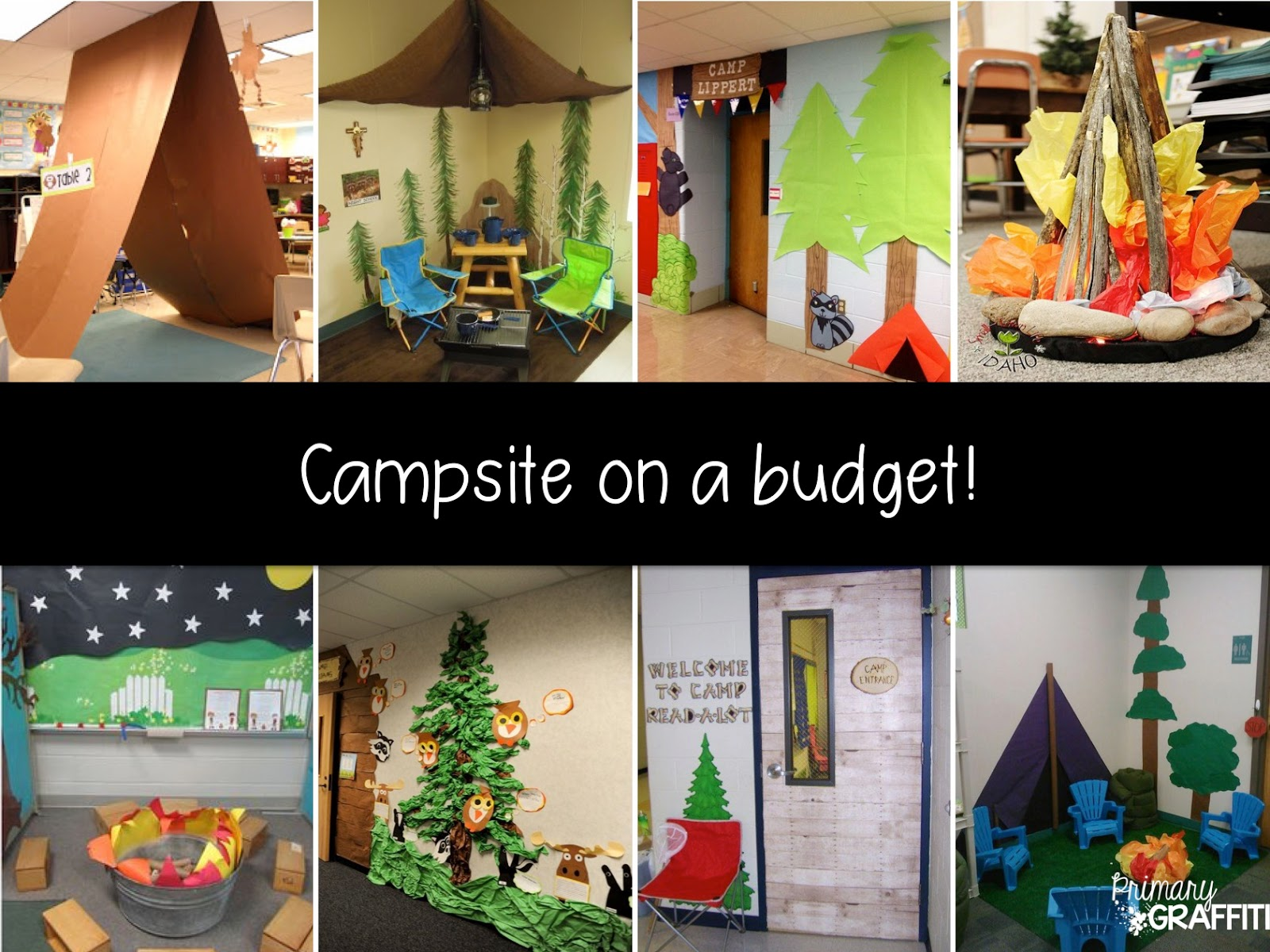 Classroom Decorating Ideas Camping Theme ~ Primary graffiti camping with books