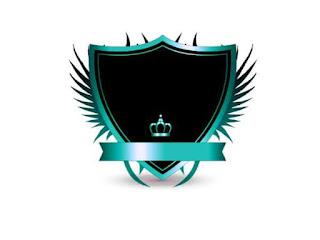 Logo Polos Perisai dengan Mahkota Biru Muda