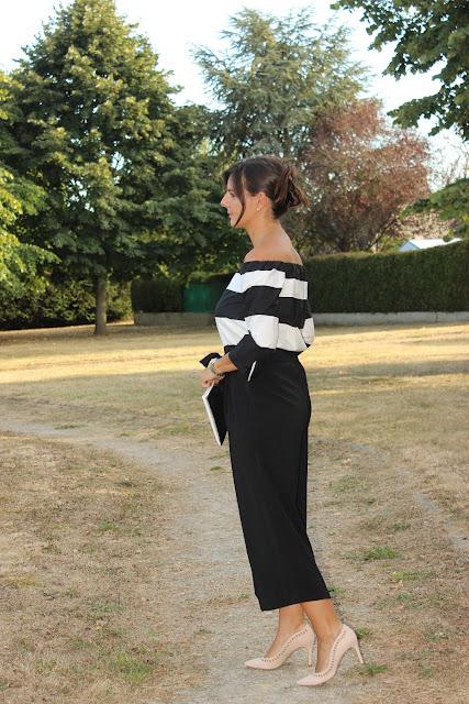 Top off shoulder, jupe culotte noire zara