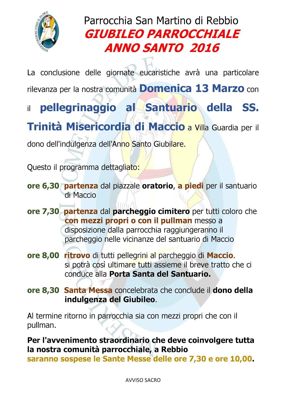 f240c21825 Domenica 13 marzo - Giubileo Parrocchiale a Maccio