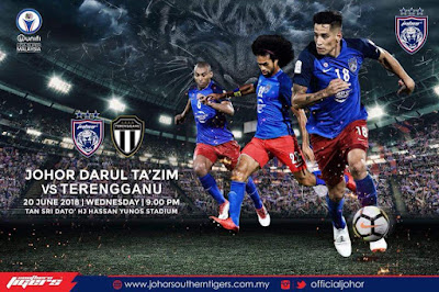 Live Streaming JDT FC vs Terengganu Liga Super 20.6.2018