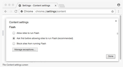 The Flash section of the Content settings screen