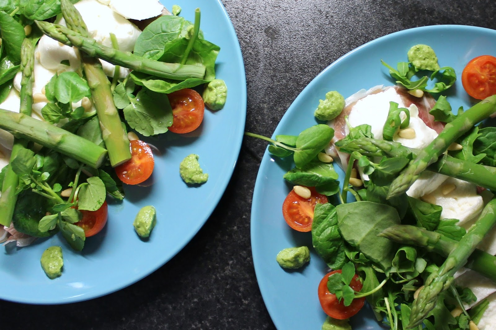 Buffalo mozzarella with Parma ham, asparagus, pea purée, mint, and cherry tomatoes drizzled with lemon and lime olive oil - Millennium Hotels Newcastle