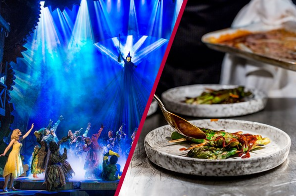a picture of a west end show and a fancy plate of food