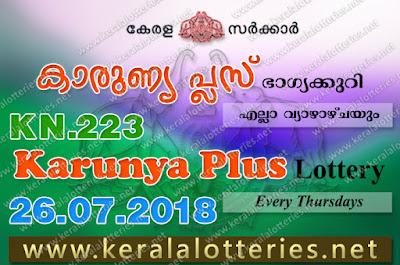 Kerala Lottery, Kerala Lottery Results, Kerala Lottery Result Live, Karunya Plus, Karunya Plus Lottery Results, Kerala Lottery Results 26-07-2018 Karunya Plus KN-223 Lottery Result keralalotteries.net