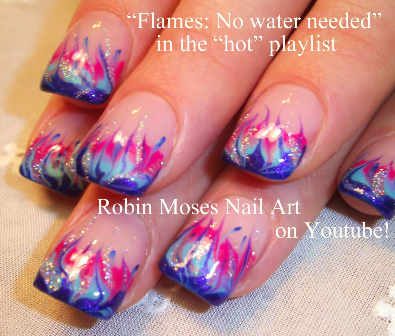 Robin Moses Nail Art: No Water Marble Neon Green Flames Up